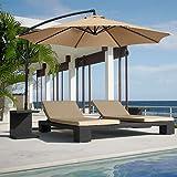 Best Choice Products® Patio Umbrella Offset 10 Hanging Umbrella Outdoor Market Umbrella Tan New
