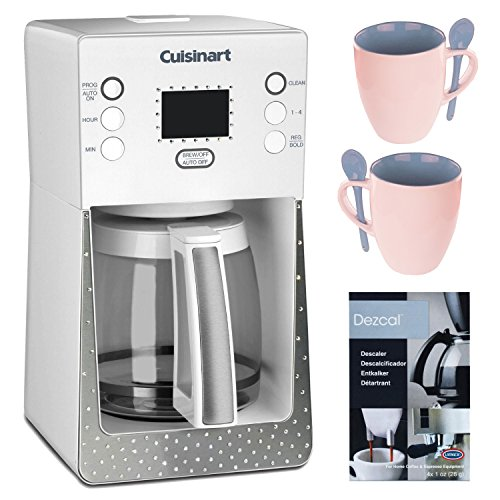 Cuisinart Crystal 14-Cup Programmable Coffeemaker (White) + 16 Oz. Stoneware Coffee Mug + Home Activated Descalet