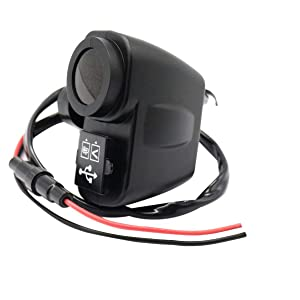 TOOGOO 12V to 5V Motorcycle USB Charger for Moto 2.1A 12V Motorcycle Charger with Voltmeter Led Display Thermometer
