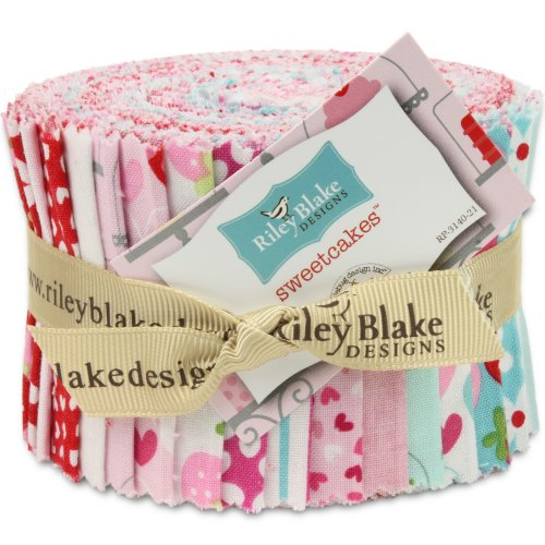 Riley Blake Sweetcakes Rolie Polie Jelly Roll, Set of 21 2.5x44-inch (6.4x112cm) Precut Cotton Fabric Strips