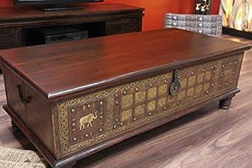 *Detail Shop Couchtisch, Truhe, Kolonial, Truhentisch, Massivholz, Indien,  130x63x44.