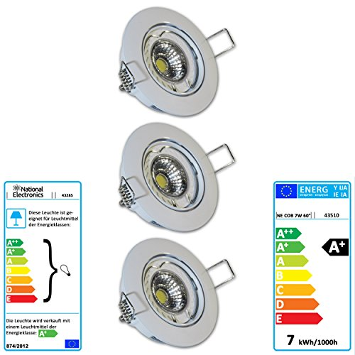 set of 5 mounting frame JCL GU10 mounting ring silver brushed swiveling recessed spot without bulbs