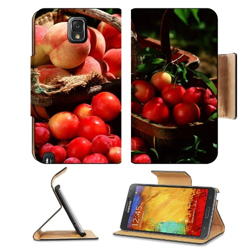 Peaches Plum Fruit Berries Fresh Basket Samsung Galaxy Note 3 N9000 Flip Case Stand Magnetic Cover Open Ports Customized Made To Order Support Ready Premium Deluxe Pu Leather 5 15/16 Inch (150Mm) X 3 1/2 Inch (89Mm) X 9/16 Inch (14Mm) Liil Note Cover Prof front-633513