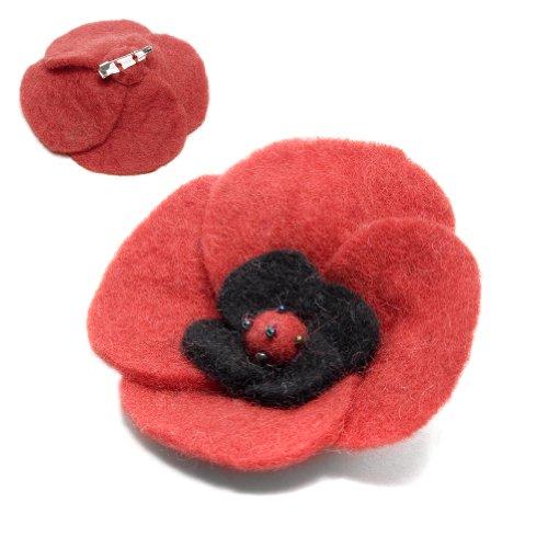 Round Red Flower Pin: Handmade & Fair Trade