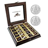 Chocholik Belgium Chocolate Gifts - Occasional Flavor Chocolate Box With 5gm X 2 Pure Silver Coins - Diwali Gifts