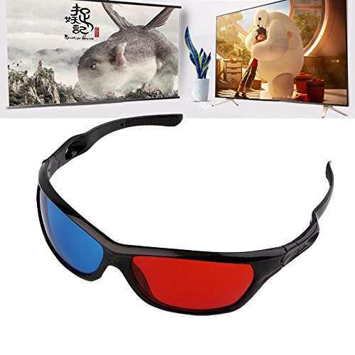 meizhouer 2pcs Black Frame Red Blue 3D Glasses For Dimensional Anaglyph Movie Game DVD