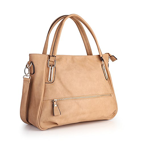 Women Handbag,Womens Bag, Shoulder bag Zipper Pocket KINGH Tote Bags PU Leather 007 Apricot (Faux Leather Garment Bag compare prices)
