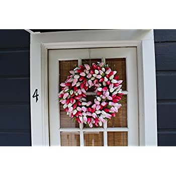 Pink And White Tulip Front Door Wreath 19 Inch - tunning Silk Front Door Wreath For Spring And Easter Wreath Display, Extremely Full Design, Beautiful White Gift Box Included