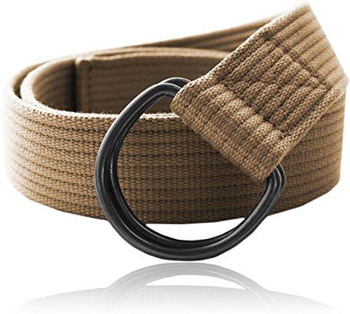 Eurosport Premium Canvas D-Ring Belt - WB2822 - Khaki - Medium/Large