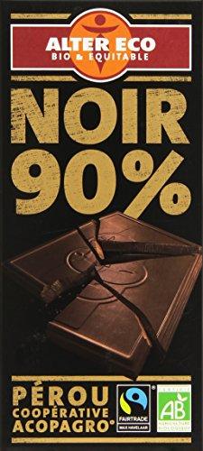 Alter Eco Tablette de Chocolat Noir 90% Bio et Equitable 100 g