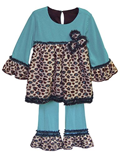 Isobella & Chloe Baby Girls' Infant Cheyenne Turquoise Fuzzy Leopard 2-Pc Outfit, 24 Months