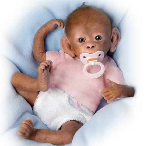 "Coco So Truly Real Baby Monkey Doll - 16"" By Ashton Drake"