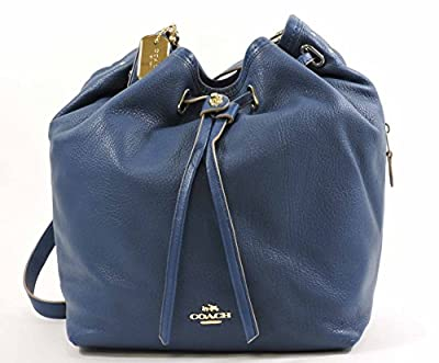 Coach Matte Soft Grain Leather Turnlock Tie Bucket Bag