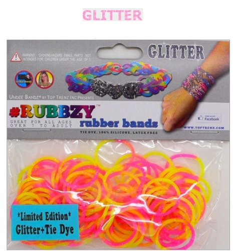 Rubbzy Loose Rubber Bands Limited Edition Glitter and Tie Dye (Pink, Yellow and Orange) (100 Pcs)