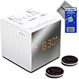 Sony Dual Alarm Clock with Extendable Snooze, AM/FM Radio, Built-in Calendar, Large LED Display, & Battery Backup (White) + Sony Replacement Batteries (2 pack) + HeroFiber® Ultra Gentle Cleaning Cloth