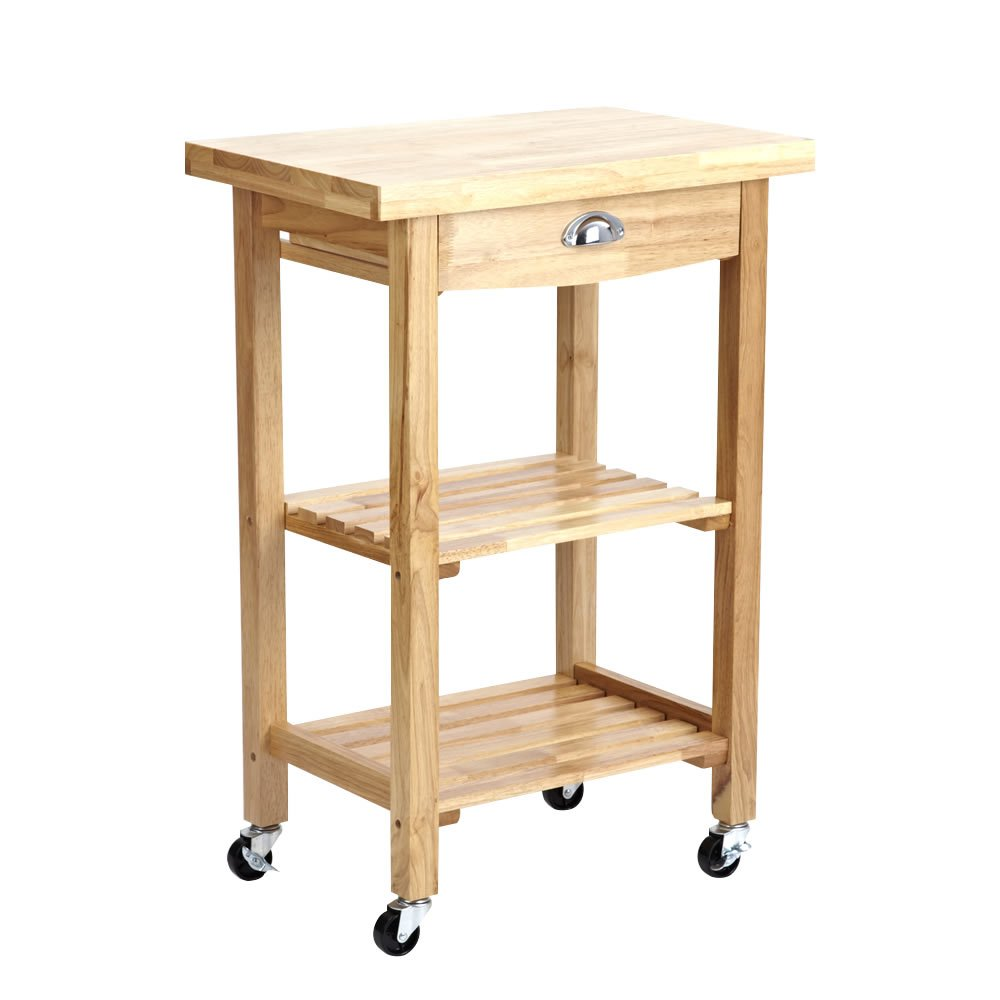 Trueshopping &'Sulgrave&' Compact Solid Rubberwood Kitchen or Garden BBQ Storage Rolling Trolley Cart with Butchers Block Style Chopping Board       review and more information