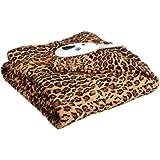 Biddeford 4437-906434-910 Heated MicroPlush Throw, 50 by 62-Inch, Leopard