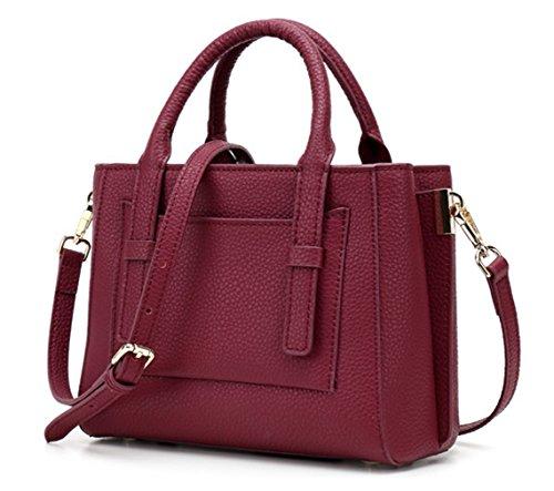 Greeniris signora una borsa di pelle donne borsa tote croce sacca semplice stile rosso