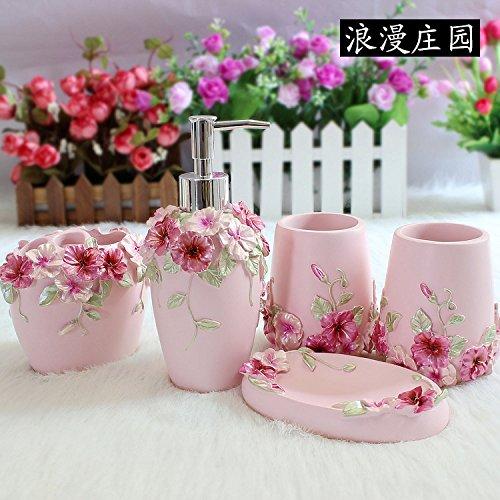BBSLT Set da bagno nuovo stile Europeo di resina giardino bagno PCs-bagno Kit mug
