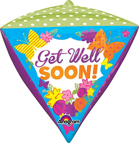 "Anagram International Get Well Butterfly Diamondz Balloon, 17"", Multicolor"
