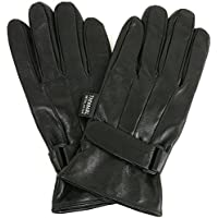 Alpine Swiss Mens Gloves Dressy Genuine Leather Warm Thermal Lined Wrist Strap (Black / Brown)