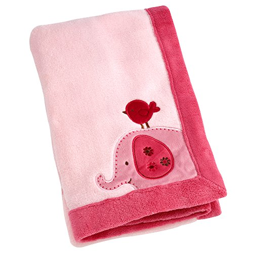 Little Bedding Jungle Appliqued Printed Coral Fleece Blanket, Raspberry