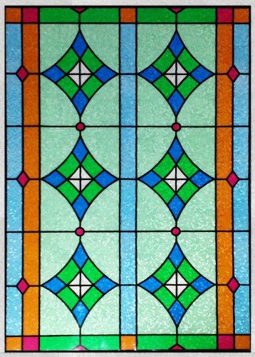 """Stained Glass Window Film . Door Window Privacy Film . Non-Adhesive . Static Cling Film . Frosted Privacy Window Film (24"""" X 36"""") front-182055"""