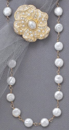 16+2inExt 14/20 Gold Filled Necklace ONLY, 8-9mm White Cultured Coin Pearls