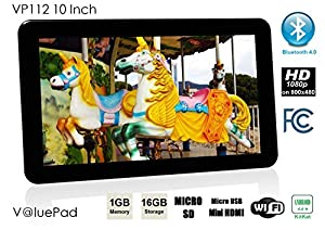 "Best Value Quad Core Tablet ValuePad VP112 10"" 1GB 16GB Bluetooth HDMI Android 4.4 KitKat Google Play 3D Game Dual Camera Dual Speaker, FCC Certified, 1-Year Warranty, BBB Accredited!"