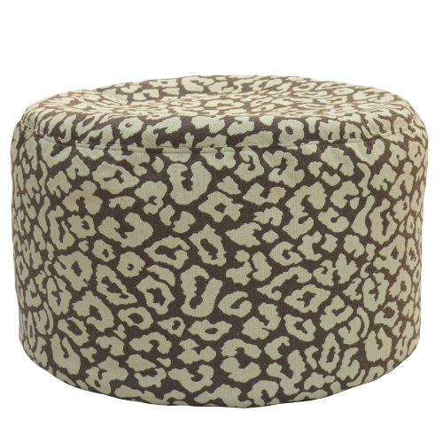 Carolina Cottage Addison Born Free Round Pouf Ottoman, Chocolate