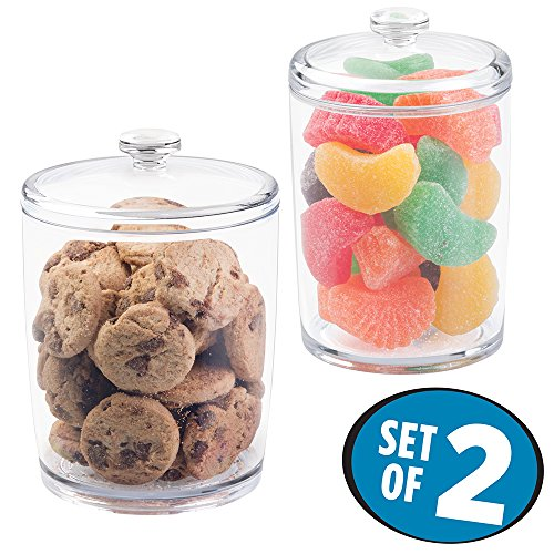 mDesign Kitchen Storage Jar for Treats, Cookies, Candy, Chocolate - Set of 2, Clear (Candy Jar For Office compare prices)