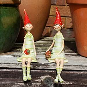Set Of Two Sitting Strawberry Pixie Garden Ornaments In Coloured Resin