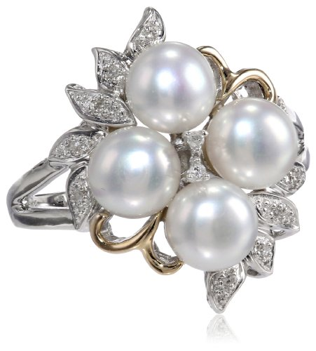S&G Sterling Silver and 14k Yellow Gold 6mm Freshwater Cultured Pearl and Diamond Cluster Ring, Size 7