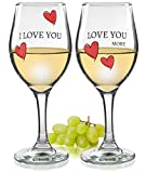 Love You More Wine Glasses - Set of 2 Romantic Wine Glasses - Pink Hearts and Love Saying - Standard Clear 14oz Glass - Wedding Gift - Anniversary Gift