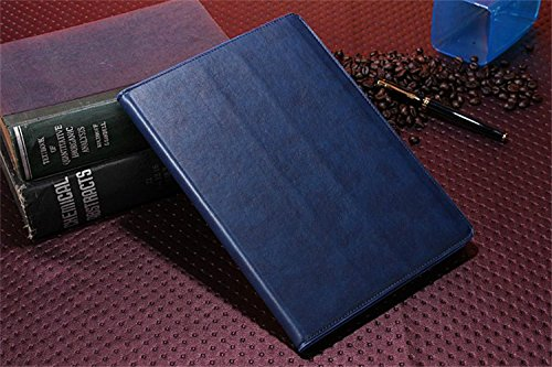 Borch Fashion Luxury Multi-Function Crazy Horse Leather Protective Light-Weight Folding Flip Smart Case Cover For Ipad Air (Blue)