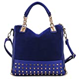 SWT Korean Fashion ladies Rivet Tote Shoulder Hobo Bag Messenger Handbag Blue