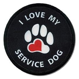 I LOVE MY SERVICE DOG Black 4 inch Sew-on Patch