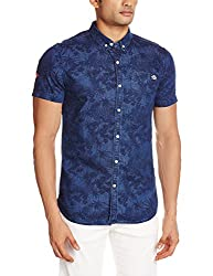 Superdry Men's Cotton Casual Shirt (5054265371998_M40MO015DS_Small_Blue)