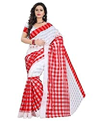 RadadiyaTRD Women's Cotton Silk Saree (RED_CHEX_SILK)