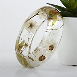 Lucite Handmade Real Flower Botanical Garden Jewelry resin bangle bracelet. {11} Size 64mm, height 23mm