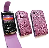 FLASH SUPERSTORE BLACKBERRY 8520 CURVE / 9300 CURVE 3G PREMIUM PU LEATHER FLORAL WALL PAPER TEXTURED FLIP CASE/COVER/POUCH PURPLE AND LCD SCREEN PROTECTOR