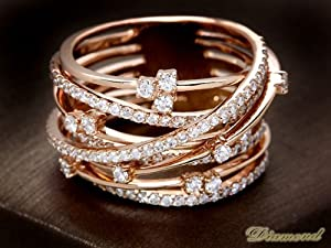 ダイヤモンド1ct ピンクゴールド レイヤードデザインリング