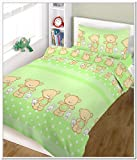 "BlueberryShop 2 pcs BABY COT BED BUNDLE BEDDING SET DUVET+PILLOW COVERS matching cot bed 120 x 150 cm (47"" x 59"") ( 0-7Yrs ) ( 150 x 120 cm ) Green Happy Teddy"