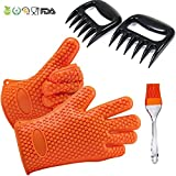 Silicone Grill BBQ Gloves + Meat Claws + Basting Brushesfor Cooking, Baking, BBQ & Potholder