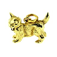 14 Kt 3d Solid Yellow Gold Cat Charm