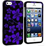 myLife Purple + Black Tropical Flowers Series (2 Piece Snap On) Hardshell Plates Case for the iPhone 5/5S (5G)... by myLife Brand Products