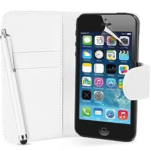 Hülle für Apple iPhone 5 Buch-Stil Imitat Leder Tasche in Weiß Brieftasche Etui Schale Case, Eingabestift, Schutzfolie