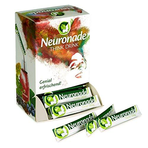 Neuronade ® - Think Drink per la concentrazione, la memoria e il potere contro la stanchezza | con ginkgo, brahmi, Rhodiola, Aronia, tè verde, biotina, vitamina B12 e B5 | ingredienti naturali e 100% vegan, 100 sacchetti