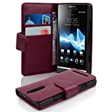 Cadorabo Case Works with Sony Xperia S in Pastel Purple (Design Book Structure) – with 2 Card Slots – Wallet Case Etui Cover Pouch PU Leather Flip (Color: PASTEL-PURPLE)