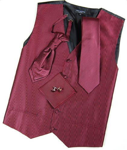 Paul Malone Wedding Vest Set Black Red 5pcs Tuxedo Vest + Necktie + Ascot + Hanky + 2 Cufflinks L